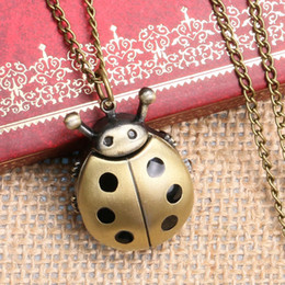 Wholesale Kids Pocket Dress - Wholesale-2016 New Bronze Ladybug Design Fob Pocket Watch With Necklace Chain To Kids Girls Women Children' Day Gift