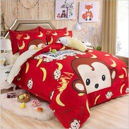 Wholesale Home textile cartoon monkey banana twin single full queen size duvet cover flat sheet pillow case bedding set no filler