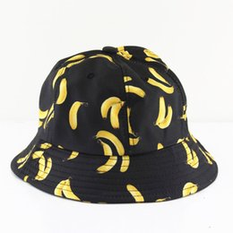 Wholesale Banana Bucket Hat Womens Bucket Hats Fashion Angling Hats Sun Protection Pineapple Apple Print Panama Casual Walking Tour Cap