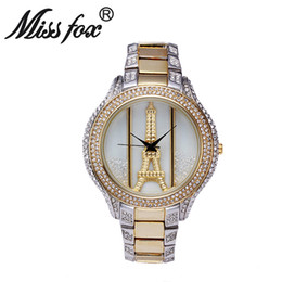 Wholesale Miss Fox Latest Fashion Circular Jewelry Button Gold And Glass Alloy Water Resistant Woman Electronic Watches