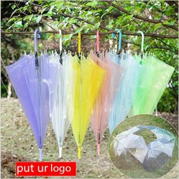 Wholesale Long handle clear Umbrella umbralla adult kids children Dance Performance pencil Umbralla Beach Wedding Colorful transparent Umbrella