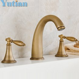 Wholesale Mixer for bath antique brass color finish shower hotel brass pss set bath tub faucet with hand shower YT