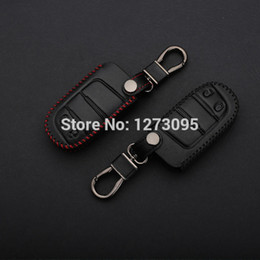 Hand Stitched Genuine Leather Car Keychain for Jeep 2014 Grand Cherokee 2 Buttons Smart Remote Key Cover Case Holder Auto Accessories