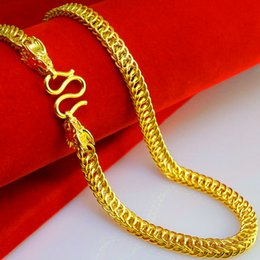 Wholesale The leading chain of Thailand gold necklace men women Curb Chain Gold hollow gold wedding jewelry gifts simulation