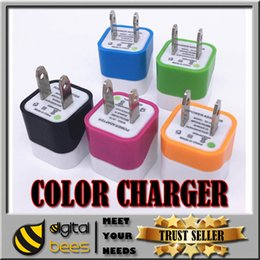 Wholesale for Iphone plus colorful wave one usb home charger pin charging V A cheap price charging plug USA wall adapter