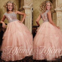 Wholesale Beautiful Cheap Glitz Little Girls Pageant Dresses Pink Coral Sequins Organza Prom Party Dress Long Crystal Kids Flower Girl Ball Gowns