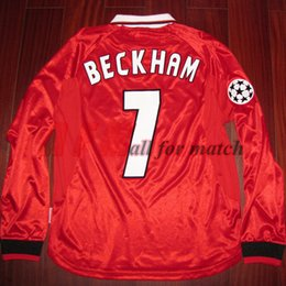 Wholesale Champions league MU Match Worn Player Issue Home Shirt Jersey Long sleeves Beckham Solskjaer Soccer Football Custom Patches Sponsor