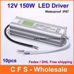 10pcs DC LED Driver 12V 150W Waterproof Electronic Driver Transformer, 12V 12.5A Power Supply Lighting Transformers Free Shipping