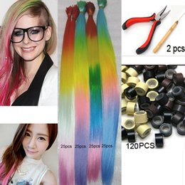 """Wholesale Color Tipped Hair Styles - 100pcs 20"""" Ombre I Tip Hair Extension 4 Style Long Rainbow Loop Grizzly Feather Hair Extensions+120 Beads+1 Hook+1 plier kit"""