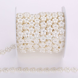10Yards 11mm Ivory Flower Pearl Rhinestones Chain Trims Costume Applique Sewing Craft