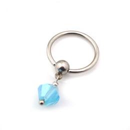 Wholesale 10PC BJ0164 liberan el anillo cristalino de vientre barato de los granos del cristal del acero caucho del anillo de la plata de la joyería del cuerpo del esclavo del surtidor de China de la nave