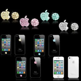 Wholesale Crystal Sticker Decals - Wholesale-1pcs Crystal Bling Deco Home Button Logo Decal Stickers For iPhone 5 5S 4S Touch Ipod
