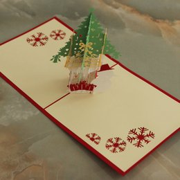 DHL Free Shipping 5 Items per Lot 3D POP UP Handmade Christmas  Gift  Greeting Card with Christmas Tree & Snow Man Decoration