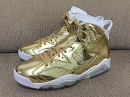 Wholesale Stretch Fabric Womens Shoes - Wholesale Air Retro 6 VI Pinnacle Metallic Gold Spike Lee Mens Womens Basketball Shoes AAA High Quality 5.5 11 Wholesale Big Discount