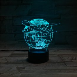 Wholesale Novelty D starwar spiderman ironman Optical Illusion LED Table Lamp Lighting Wall Light thick With Lovely plastic Base seven color