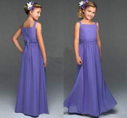Wholesale Cheap Little Girls Bridesmaid Dresses - Simple wedding party gowns floor length chiffon 2016 junior bridesmaids dresses cheap button back little flower girl dress