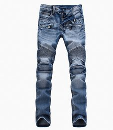 Wholesale 2016 balmain motorcycle wash light blue jeans trousers Men do old jeans The fashion leisure trousers size to crime
