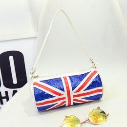 Wholesale Fashion Korean Small Cylinder Vintage UK Flag Sequins PU leather Handbag Women Shoulder Messenger Bags Ladies Tote Bags