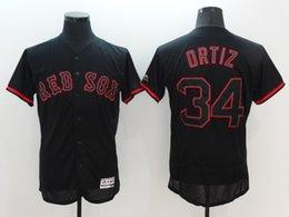 Wholesale New arrive August elite baseball Jerseys Boston Red Sox Ortiz Baseball Wear Black freeshipping