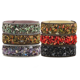 Wholesale Fashion Charm Bracelets Handmade Natural Crystal Stone Charm For Men and Women Multilayer Infinity Wide Leather Bracelets Jewelry