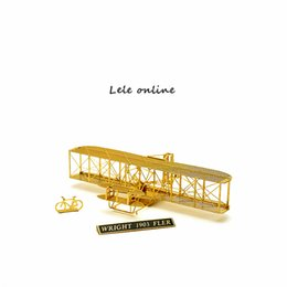 Wholesale 1 Scale Wright Flyer Airplane Don t need to paint Glue can be easily assembled D Metal model Funny Puzzle Brass caraft