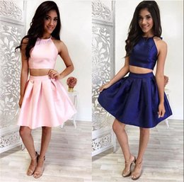 Wholesale 2016 Sexy Two Pieces Homecoming Dress Mini Taffeta Homecoming Dress halter Neck Sleeveless Young Girl Homecoming Dress
