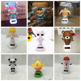 Wholesale Mixed Styles Solar Dancing Doll Solar Toys Cute Animal Monkey Frog Rabbit Penguin Elf Santa Skeleton For Car Decoration Accessories