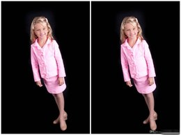 2016 New Hot Pink Little Girls Pageant Suits Short Three Button Custom Made Children Outfits Girl's Pageant DressesLong Sleeve