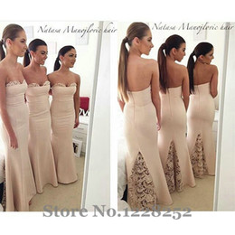 Champagne 2019 New Arrivals Mremaid Bridesmaid Dresses Strapless Floor-Length None Train Sleeveless Off the Shoulder Evening Dress formal
