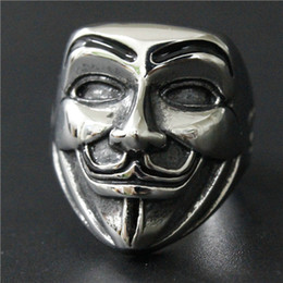 Size 7-14 Mens Womens 316L Stainless Steel Jewelry Smile Mask Ring Good Quality Special New Biker Ring