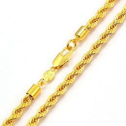 knot chain solid rope necklace 18k Yellow Gold Filled Mens Collar Necklace 18 inches