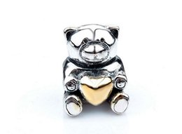 11.4X9.3MM 925 Sterling Silver Mother'S Day Teddy Bear Charms Beads Fit European Bracelets Fashion Natural Stone Jewelry