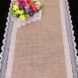 30*275cm Lace Hessian Burlap Table Runner Wedding Linen Table Runner Lace Doily Table Runner Natural Jute Home Party Decoration