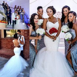 2015 Plus Size Wedding Dresses Mermaid Style Lace Spaghetti Sheer Backless Lace Tulle Black Girl Brida Dress SaudSweep Train Wedding Gowns