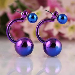 Wholesale! aros women double pearl clip on earrings jewelry Multi-Color ear cartilage statement small stud earrings unhas E1557