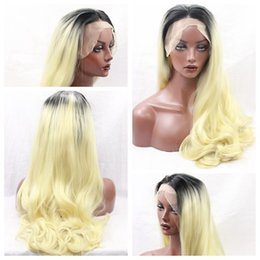 Middle Part Ombre Blonde 1 631# Body Wavy Long Wigs Heat Resistant Glueless Synthetic Lace Front Wigs with Baby Hair High Quality