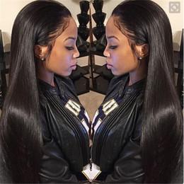 Descuento cordón lleno recta superior de seda Seda base de la peluca brasileña sin cola llenas superiores de seda del cordón de las pelucas naturales rayita recta de seda del cordón de la peluca llena del pelo humano para las mujeres negras