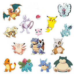 Wholesale Poke wall stickers cartoon D wallpapers children removable cm PVC Pikachu wallpaper for kids room Decorations LC401