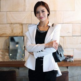 Wholesale Korean Tuxedo Jackets - Trendy Casual Slim Dovetail Tuxedo Suit Blazer Coat Jacket Korean Fashion Women Long Sleeve OL Business Outerwear Solid 2 Color