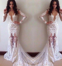 Wholesale Long Sleeves Lace Sexy Prom Evening Wear Dresses Vestidos De Noiva See Through Tulle Court Train Latin American Gowns Fitted