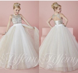 Wholesale White Cute Angel Baby Ball Gowns Girls Pageant Dresses Sheer Crew Neck Beaded Crystals Backless Blingbling Long Flower Girl s Dresses