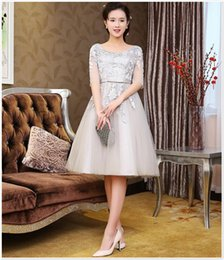 Graceful Wedding Guest Dress With Half Sleeves Lace Appliques Ruched Knee Length Short Cheap Beach Bridesmaids Dresses In Stock