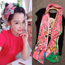 Wholesale Long Scarves For Summer - Luxury Mulberry Silk Scarf Long Summer Style Ladie Silk Scraf 5 Colors Bow Tie Headband for Women HHA1010