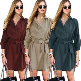 Wholesale S XL Autumn womens Korean fashion shirt dresses with sashes women loosen casual plain midi v neck dress cheap clothing store