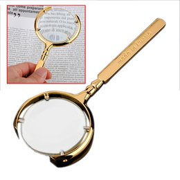 Wholesale Hand Held Antique Jewel Golden Metal Magnifier MM Jewelry Reading Magnifying Glass X Loupe Watch Repair Tool