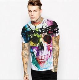 2016 New Creative Painted Men's Skull Print T-shirts Fashion Novelty Shirt O Neck tshirts Short Sleeve T Shirts Brand Designer