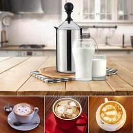 Wholesale 600ml Stainless Steel Milk Frother Foamer Double Mesh DIY White Coffee Creamer for Cappuccino Latte H17181