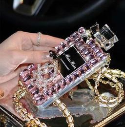 Caja de lujo del teléfono celular de la botella de perfume de Bling del diamante para el iphone 6, iphone 6 más, iphone 5 / 5s, iphone4 / 4s, nota4 de Samsung, note3, color rosado desde iphone bling la rosa proveedores