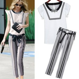 2016 new arrival Women's Fashion thin stripe printted clothing Pants suit summer ZDJ18