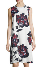 Fashion Flower Print Women Sheath Dress Round Neck Dresses 055A83